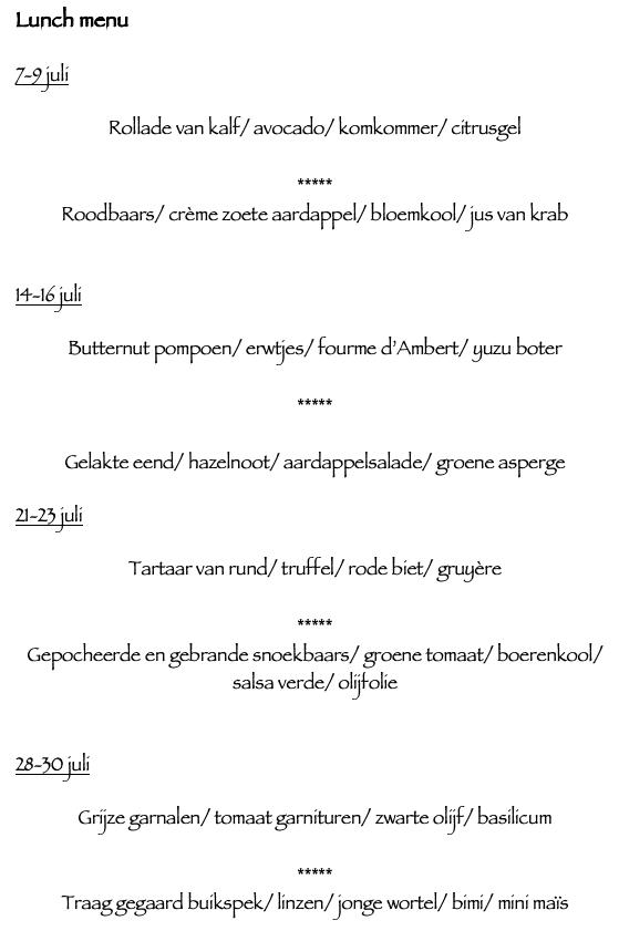 Restaurant: lunch menu juli