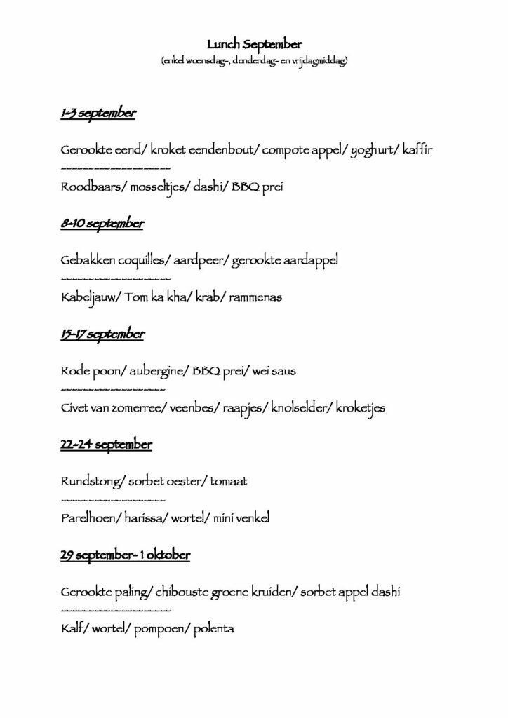 Restaurant: lunch menu september