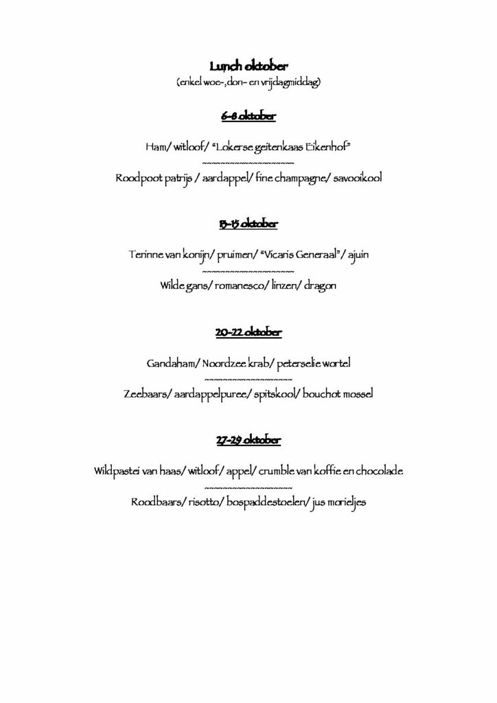 Restaurant: lunch menu oktober