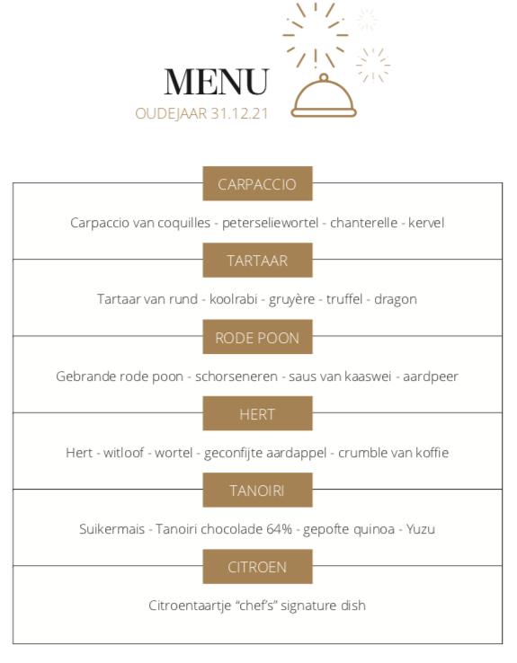 Restaurant: menu oudejaarsavond